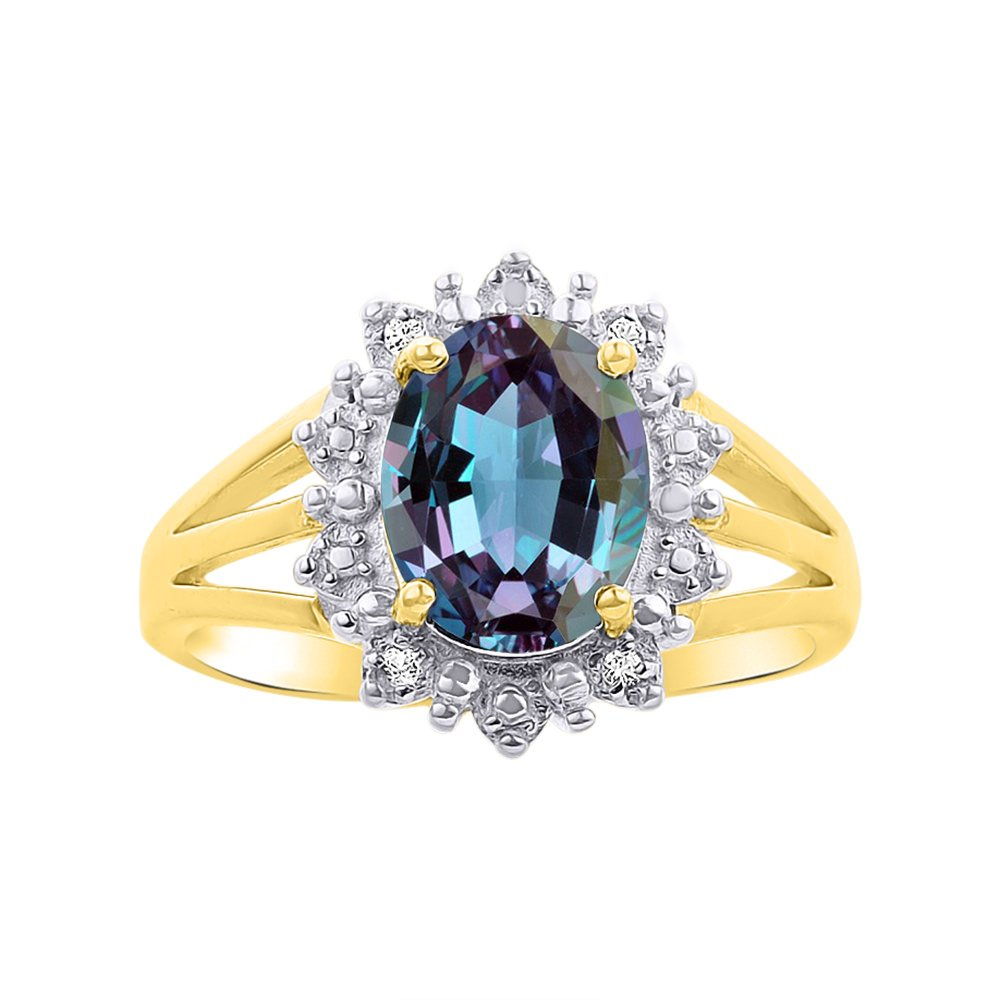 Princess Diana Inspired Halo Diamond & Simulated Alexandrite Ring Set In 14K Yellow Gold