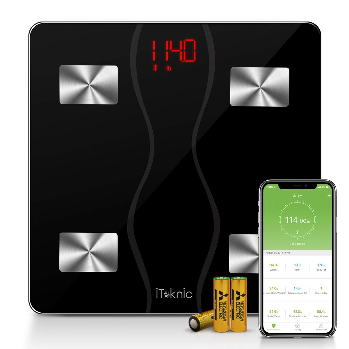 Bluetooth Body Fat Scale, iTeknic Smart Wireless Digital Bathroom Weight Scale Body Composition Analyzer with Smartphone App for Body Weight, Fat, Water, BMI, BMR, Muscle Mass 400lb, Black by iTeknic