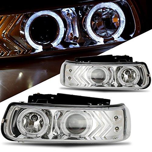 02 Chevrolet Silverado Halo Projector - Winjet WJ10-0214-01 Projector Halo Headlights for 1999-2006 Chevrolet Silverado Suburban Tahoe - Chrome/Clear