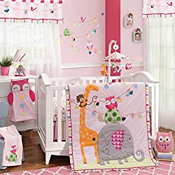 Lambs & Ivy Sprinkles Owl 4 Piece Crib Bedding Set for girls