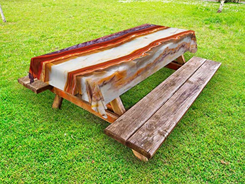 Lunarable Marble Outdoor Tablecloth, Gradient Macro Quartz Rock Surface with Natural Minerals Glazed Beauty Artsy Display, Decorative Washable Picnic Table Cloth, 58 X 120 Inches, ()
