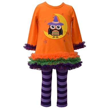 Bonnie Jean Girls Halloween Owl Witch Applique Fall Knit Dress Leggings 4 5 6 6X