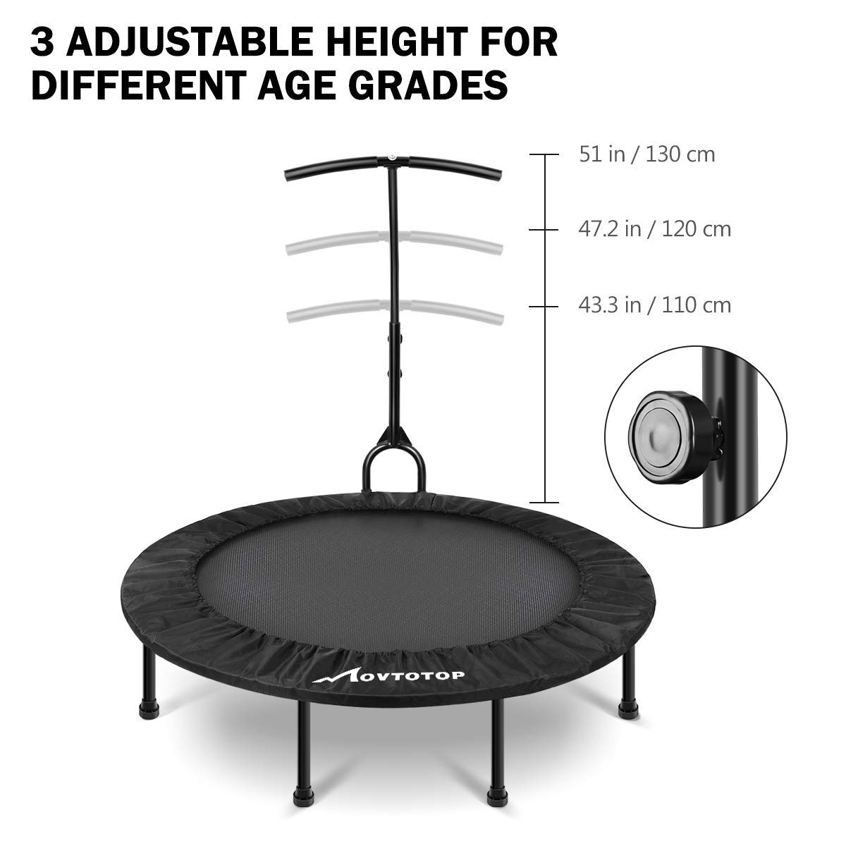 MOVTOTOP 48 40 Inch Indoor Trampoline, Folding Mini Trampoline with Adjustable Handrail and Safety Pad, Exercise Rebounder for Kids Adults-Black (40 Inch-Foldable) by MOVTOTOP (Image #6)