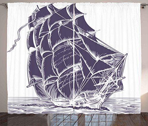 (Ambesonne Nautical Curtains, Old Sail Boat in The Ocean on White Background Pirate Treasure Retro Illustration, Living Room Bedroom Window Drapes 2 Panel Set, 108