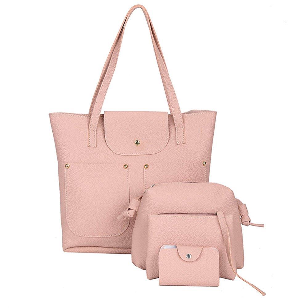 Adagod 4Pcs Women Vintage Pattern Leather Handbag+Crossbody Bag+Messenger Bag+Card Package