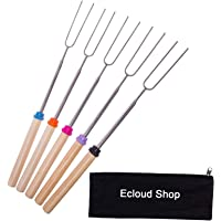 Ecloud Shopョ Marshmallow Roasting BBQ Sticks - Set of 5 Telescopic Stainless Steel Skewers - Perfect Forks for Hot Dogs Smores - Extendable to 32 Inches Long
