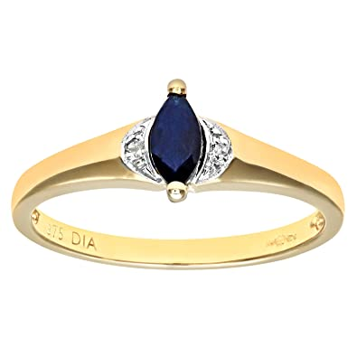 Naava Women's 9 ct Yellow Gold Round Brilliant Cut Diamond and Sapphire Fancy Ring BTHmg