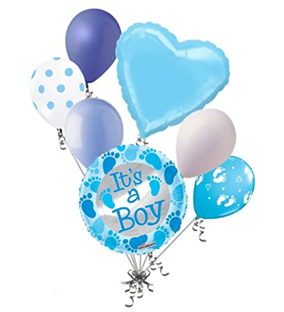 Amazon Com 7 Pc Baby Boy Foot Print Balloon Bouquet Decoration