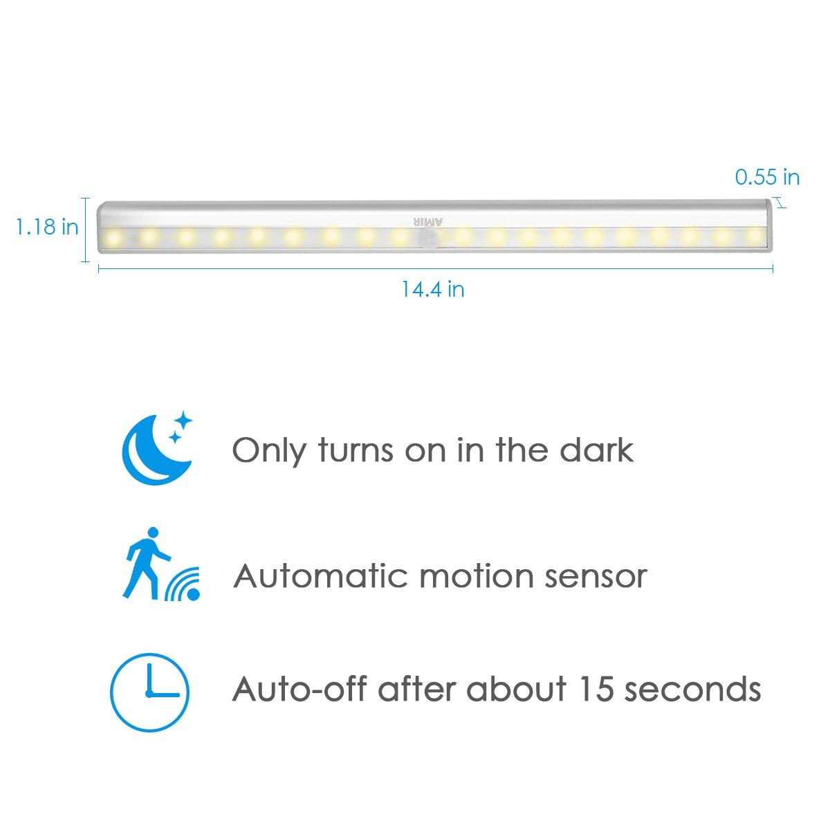 Schubfach usw. Batteriebetrieben Kabinett Nachtlicht Auto On//Off PIR Motion Sensing Licht f/ür Schlafzimmer Gang AMIR LED Schrankbeleuchtung K/üche 20 LED Nachtlicht mit Bewegungsmelder