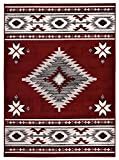 RugStylesOnline Comfy Collection Southwestern Design Native American Traditional Area Rug, 30″ L x 18″ W, Red