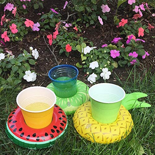 FUTUREPLUSX Inflatable Drink Holder, 8PCS Fruit Inflatable Cup Holders Drink Pool Floats Inflatable Floating Coasters for Pool Party Water Fun Kids Bath Toys Shower