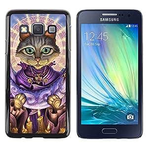 Be Good Phone Accessory // Dura Cáscara cubierta Protectora Caso Carcasa Funda de Protección para Samsung Galaxy A3 SM-A300 // Saint Cat Salmon God Art Grey Green Eyes