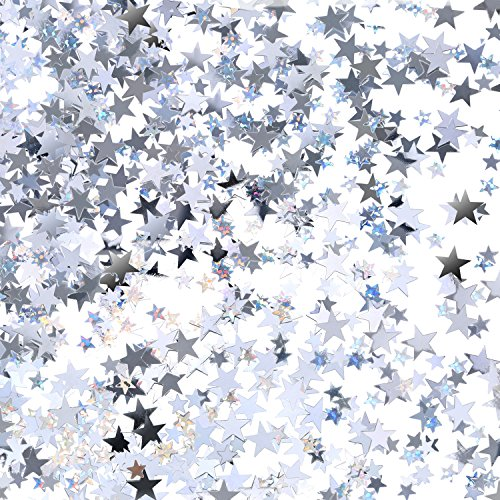 (TecUnite Silver Star Confetti Glitter Star Table Confetti for Wedding Birthday Party Decoration, 60 Grams/ 2.1 Ounce)