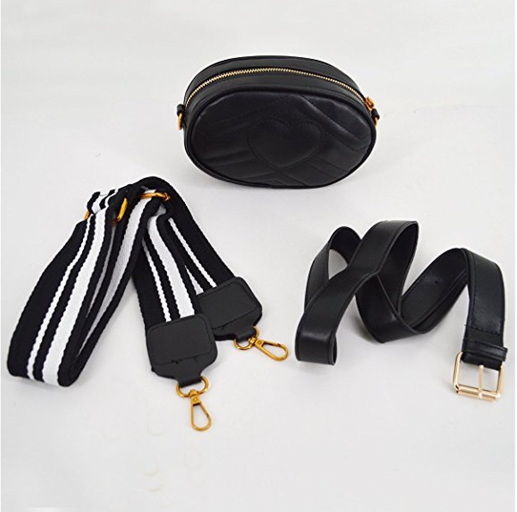 Olivia Elegant Leather Fanny Pack Embroidery Love Pattern PU Leather Waist Bag Bum Bag Travel Cell Phone Bag Pouch(Heart Black) by Olivia (Image #2)