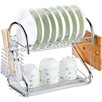 Rubik Dish Drying Rack, 2 Tier Stainless Steel Dish Rack with Utensil Holder, Glass, Cup, Cutlery Holder, and Dish Drainer for Kitchen Counter Top, Plated Chrome Dish Dryer