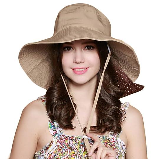KM Women Foldable Sun Hat UV Protection Wide Brim Riding Hat (Khaki ... 8a617b81f10