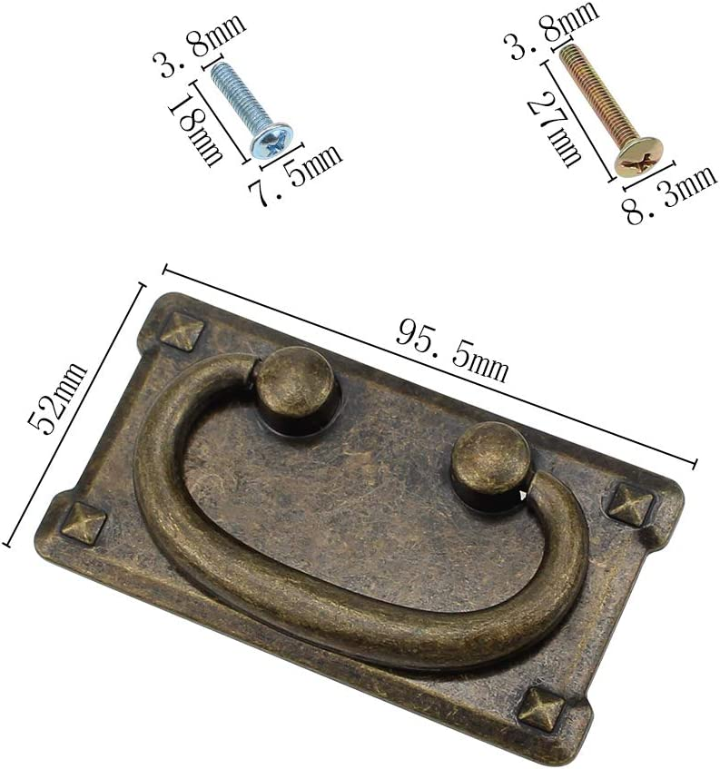 NewZC 2pcs Vintage Drawer Pull Handles Antique Bronze Drawer Handles Rectangle Drop Ring Pull Handles for Cupboard Drawer Cabinet Zinc Alloy 95x52mm