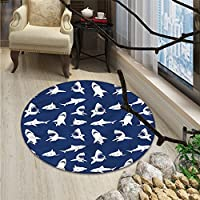 Shark Round Rug Kid Carpet Shark Pattern with Various Gestures Have A Bite Danger Humor Nautical DesignOriental Floor and Carpets Violet Blue White