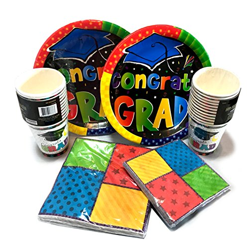 Graduation Party Supplies! - Plates - Napkins - Cups - Everything You Need For A Graduation Party! (Multi Color Congrats Grad Party Set)