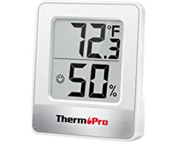 ThermoPro TP49-W Mini Hygrometer Thermometer with Large Digital View Indoor Thermometer Humidity Gauge Monitor for Greenhouse