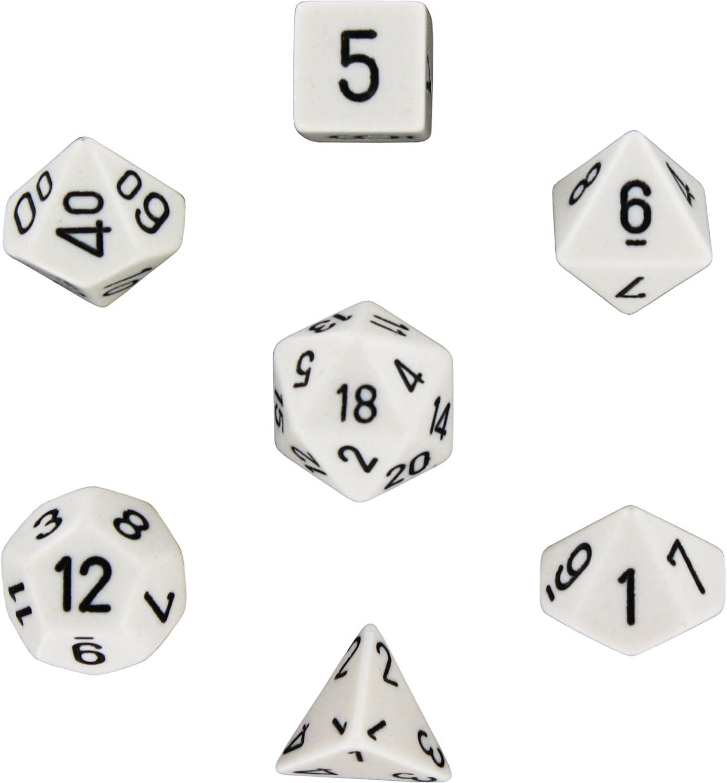 Chessex Opaque Poly 7-Die Set Black//White