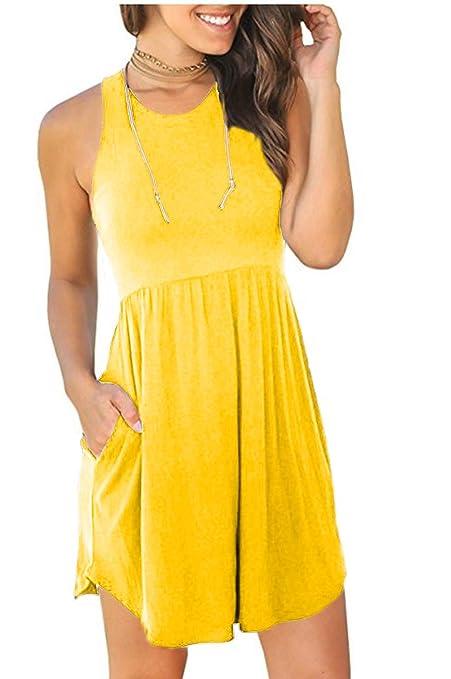 90c84e6bb689 Amazon.com  MELANSAY Women s Sleeveless Racerback Loose T Shirt Dress  Casual Summer Dresses with Pockets  Clothing