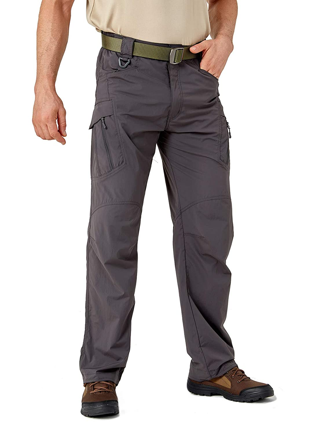 EKLENTSON Mens Quick Dry Cargo Pants Outdoor Elastic Camping Trekking Fishing Hiking Trousers Multi Pockets