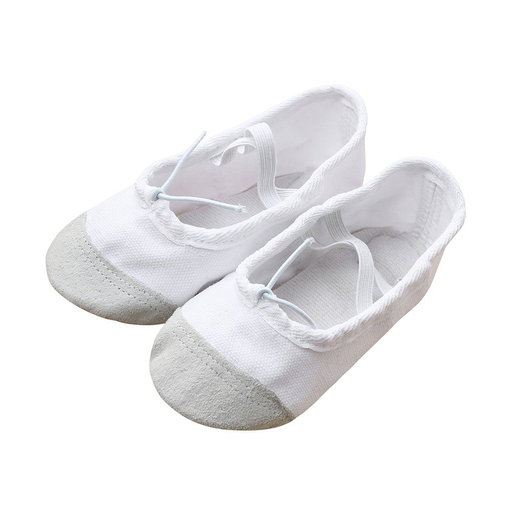 Tantisy ♣↭♣ Baby Shoes Girls  Fashion Kids Canvas Ballet Pointe Dance Shoes Fitness Gymnastics Latin Dance Shoes White