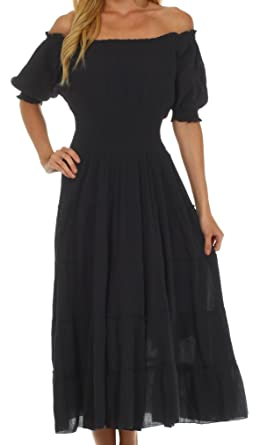 eccbd33c0d77 Sakkas 3702 Cotton Crepe Peasant Boho Renaissance Dress - Black One ...