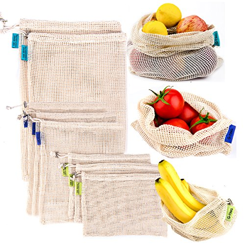 (Reusable Produce Mesh Bags, G-TING Natural Cotton Eco-Friendly Net Bags with Double-Stitched Seamsfor Grocery Shopping Storage of Fruit Vegetable Garden Produce Set of 8 (3 Small - 3 Medium - 2 Large))