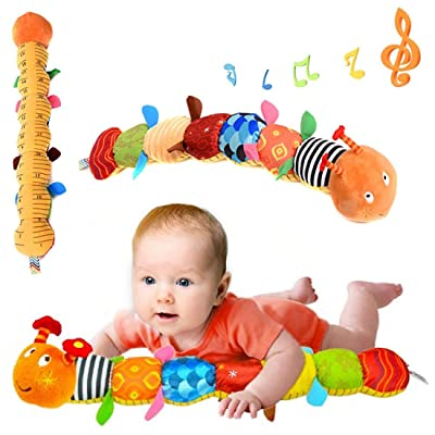 URBEAR Musical Caterpillar Toy, Bells and Rattle Educational Toddler Plush Toy for Kids Children: Toys & Games