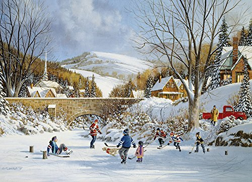 Cobble Hill Hockey on Frozen Lake 1000 Piece Jigsaw Puzzle