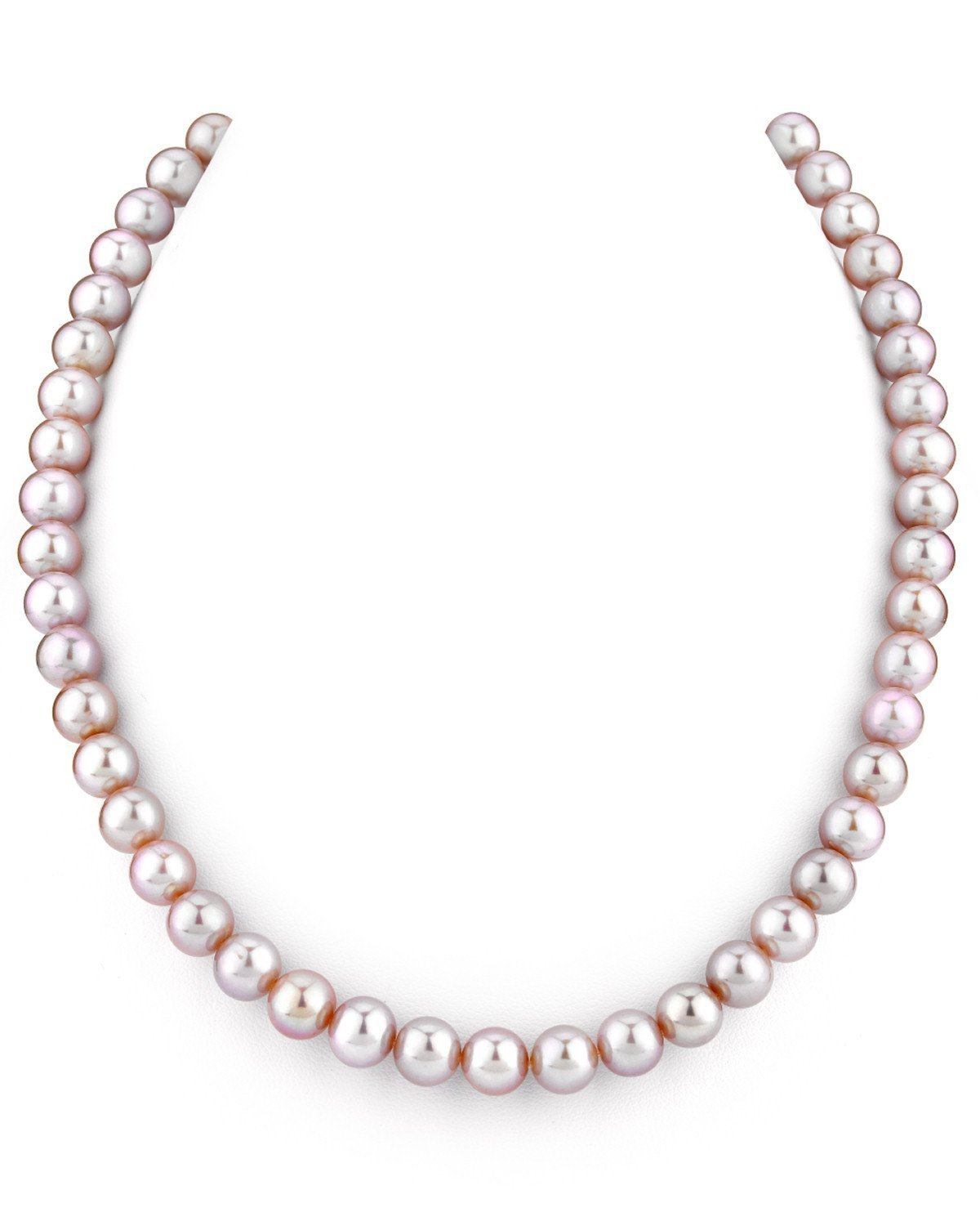 THE PEARL SOURCE 14K Gold AAA Quality Pink Freshwater Cultured Pearl Necklace for Women in 18'' Princess Length (white-gold, 7.0-8.0mm)