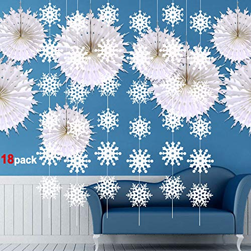 Snowflake Decorations(16Pack), Konsait Large Christmas Tissue Paper Fans Snowflake Hanging Garland Banner Decor Xmas Ornament Accessories for Home Frozen Winter Christmas Favor Supplies