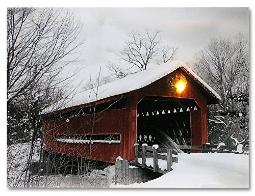 Covered Red Bridge Led Lit Canvas Print Lighted Picture Old Fashioned Rustic Bridge Lantern