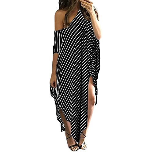 Women Shirt Dress Long Loose Stripe Batwing Sleeve Off shoulder Dress Plus Size (Tag XXL