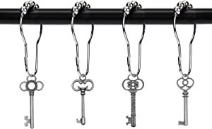 ZILucky Set of 12 Retro Style Skeleton Key Shower Curtain Hooks Antique Large Vintage Shabby Chic Cottage Style Theme Home Shower Curtain Rings Decor Accessories (Pewter)
