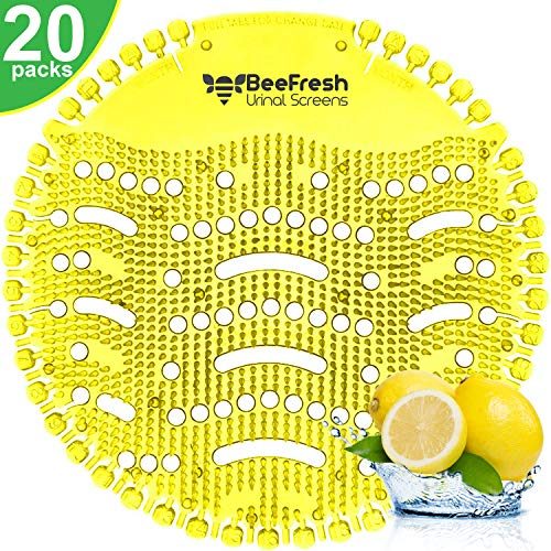 Urinal Screens Deodorizer (20 Pack), Urinal Cake, Anti-Splash & Odor Freshener, Scent Lasts for Up to 5000 Flushes -Ideal for Bathrooms, Restrooms, Office, Restaurants, Schools (Yellow Lemon)