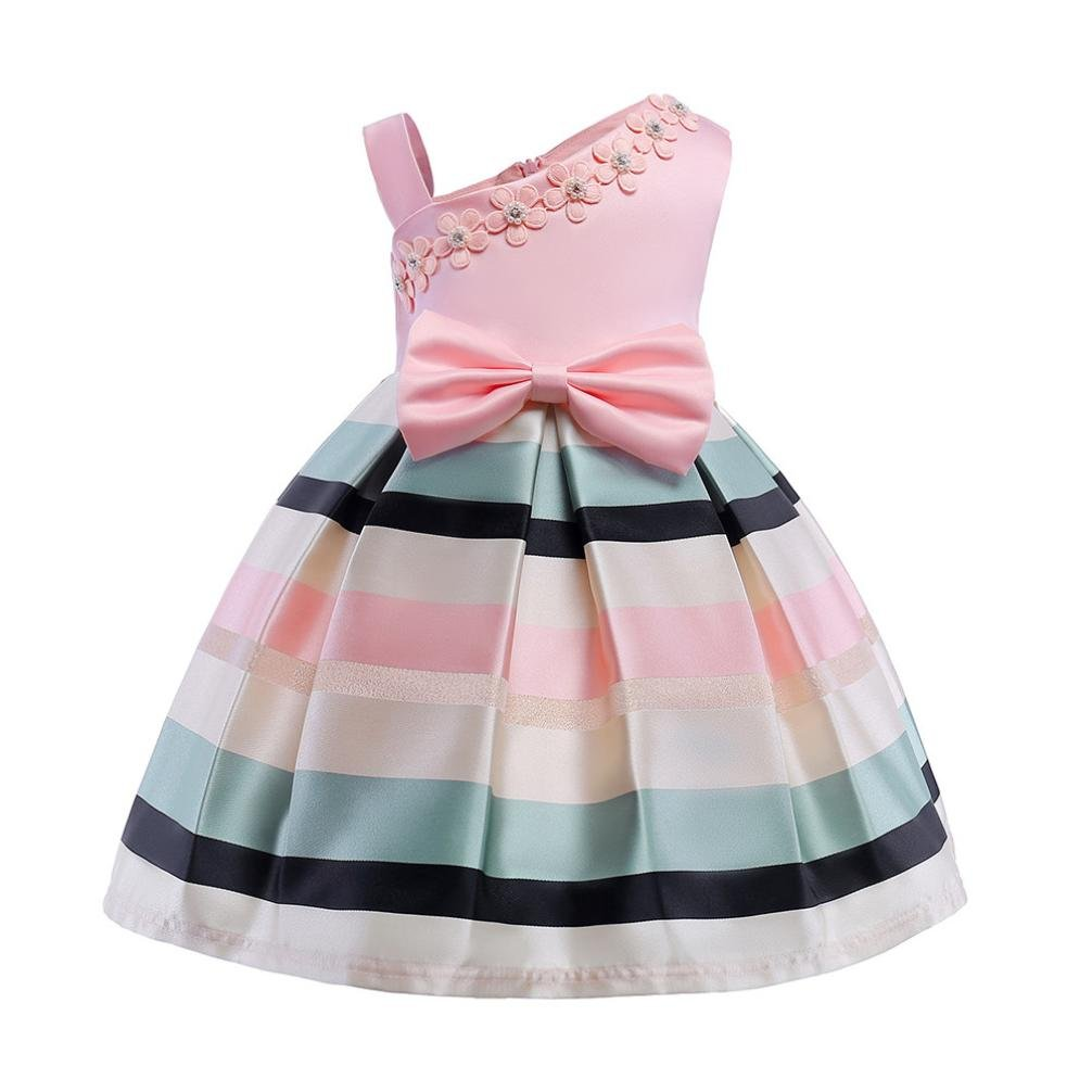 Girls Dress,for 2-8 Years Old,Baby Birthday Gift Princess Bridesmaid Floral Striped Straps Party Wedding Dress Toddler Outfits Clode-CL-1006