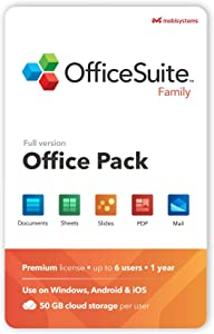 OfficeSuite Family Compatible with Microsoft® Office Word® Excel® & PowerPoint® and Adobe® PDF for PC Windows 10, 8.1, 8, 7 - 1-year license, 6 users