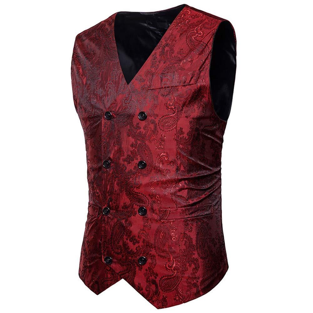 Men Jackets,Dartphew Mens Cool Print Double-Breasted Waistcoat Vest Top Coat
