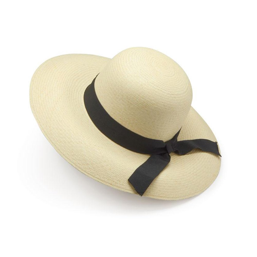 Ladies Sun Panama Hat Black Band Summer Lawn Tennis. BVA08