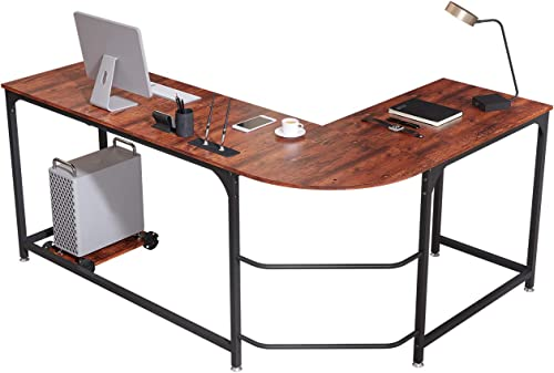 "Ama Maker L-Shaped Computer Desk 66"" Corner Desk Writing Workstation"