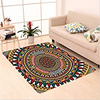 Nalahome Custom carpet l Decor African Folkloric Tribe Round Pattern with Ethnic Colors Aztec Art Jade Ruby and Mustard area rugs for Living Dining Room Bedroom Hallway Office Carpet (5 X 7)