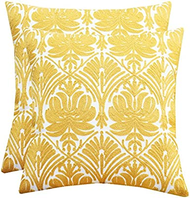 Amazon.com: Fundas de almohada de algodón con bordado de ...