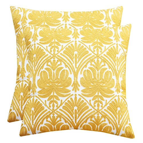 Floral Accent Pillow - SLOW COW Cotton Embroidery Throw Pillow Covers Yellow Rose Decor Decorative Cushion Covers Soft Accent Pillow Covers 18 x 18 Inches, Set of 2