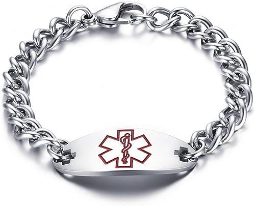 8.5 Diabetes Medical Alert Id Rubber// Stainless Bracelet
