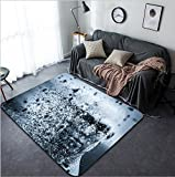 Vanfan Design Home Decorative 424934146 Man face with pixel dispersion effect Concept of technology modern science but also disintegration of mind etc 3D rendering Modern Non-Slip Doormats Carpet fo