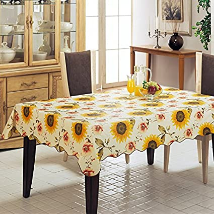 Household Wipe Clean PVC Tablecloth Oil Proof Table Cover Stain Resistant, Non