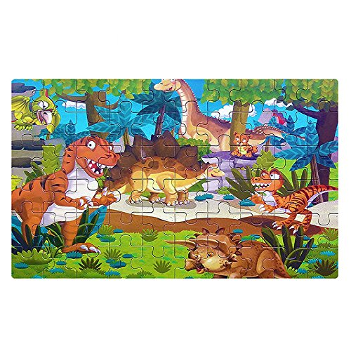 AUTOW 60 Pieces Wooden Dinosaurs Jigsaw Puzzles with a Storage Box, for Kids Ages 3-8, Dinosaur and Animals Children's Puzzles,Educational Learning Toy,Wooden Puzzle for Boys and Girls Gift ()